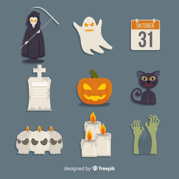 Klassische halloween elementsammlung mit flachem design Kostenlosen Vektoren