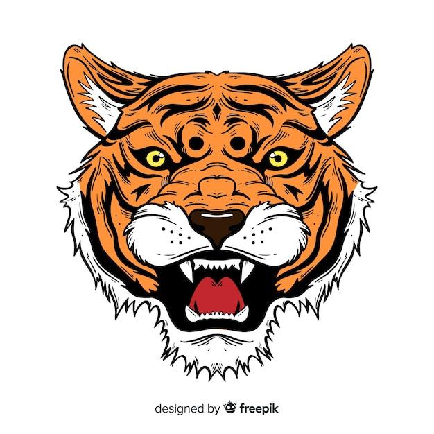 Klassische handgezeichnete tiger compositio Kostenlosen Vektoren