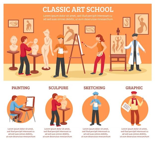 Klassische kunst infographik set Kostenlosen Vektoren