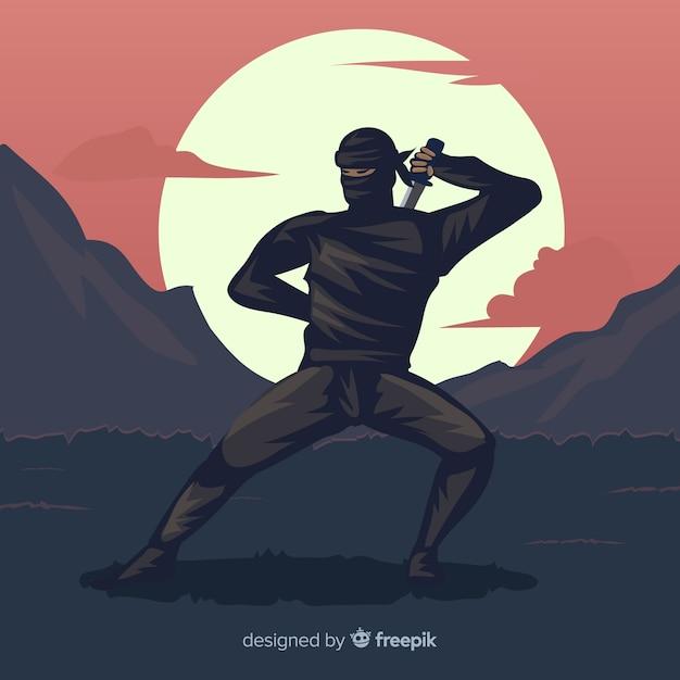 Klassische ninja-komposition mit flachem design Kostenlosen Vektoren