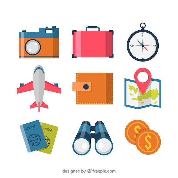 Klassische reiseelemente sammlung Kostenlosen Vektoren