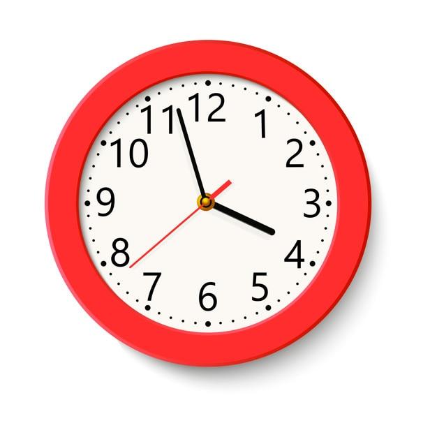 Klassische rote runde wanduhr lokalisiert auf weiß Premium Vektoren