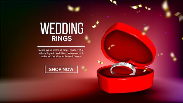 Klassische silver diamond ring landing page Premium Vektoren