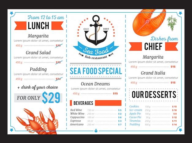 Klassische speisekarte für meeresfrüchte-menüs mit speziellen chefgerichten und mittagsbuffet Kostenlosen Vektoren