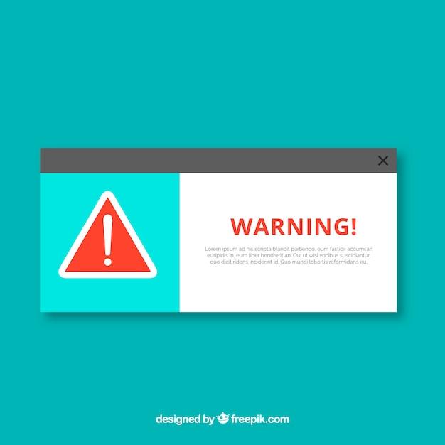 Klassische warnung pop-up mit flachem design Kostenlosen Vektoren