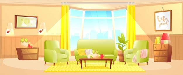 Klassische wohnzimmerausgangs-innenarchitekturfahne. Kostenlosen Vektoren