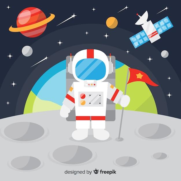 Klassischer astronautencharakter mit flachem design Kostenlosen Vektoren