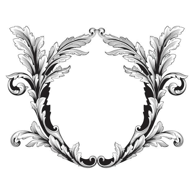 Klassischer barock des vintage-elements. filigrane kalligraphie des dekorativen gestaltungselements. Premium Vektoren