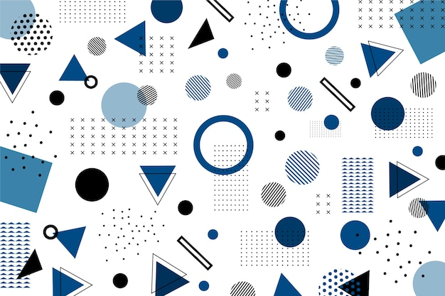 Klassischer blauer flacher geometrischer formhintergrund Kostenlosen Vektoren