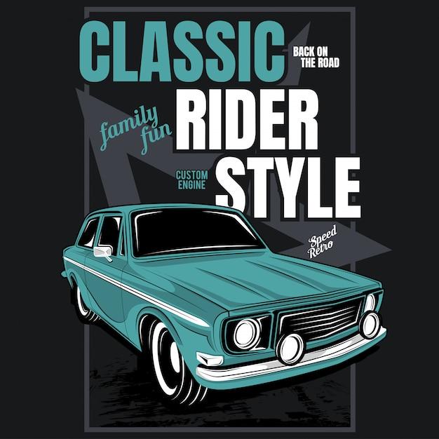 Klassischer fahrerstil, illustration eines klassischen autos Premium Vektoren