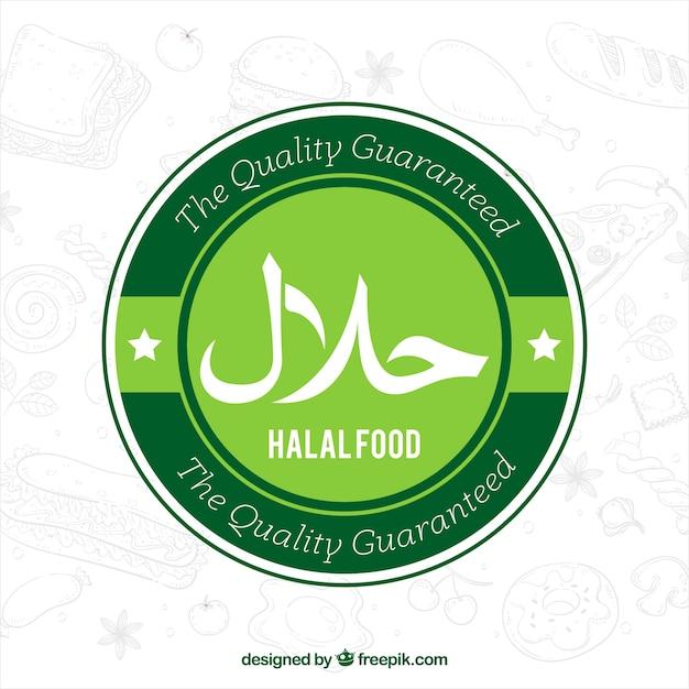 Klassischer grüner halal aufkleber mit flachem design Kostenlosen Vektoren