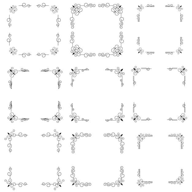 Klassischer ornamentrahmen, weinleserandsatz Premium Vektoren