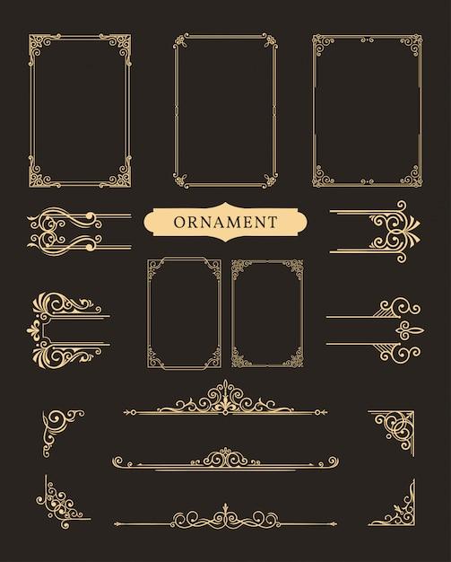 Klassischer ornamentrahmen Premium Vektoren