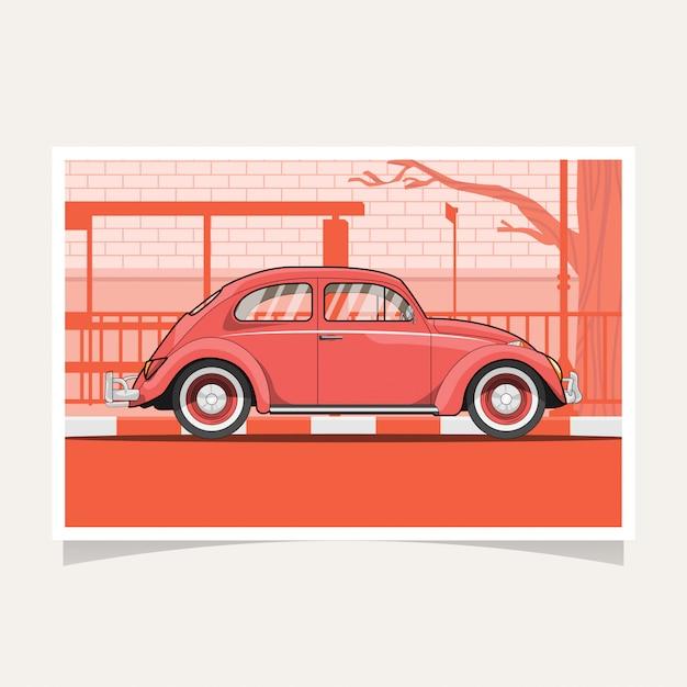 Klassischer roter auto-begriffsentwurfs-flacher illustrations-vektor Premium Vektoren