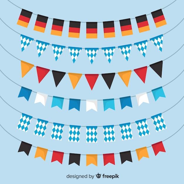 Klassischer satz von oktoberfest girlanden mit flachem design Kostenlosen Vektoren