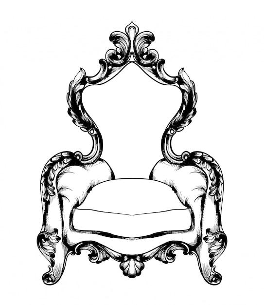 Klassischer sessel im königlichen stil Premium Vektoren