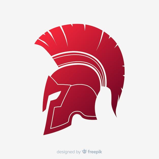 Klassischer spartanischer helm mit farbverlauf Premium Vektoren