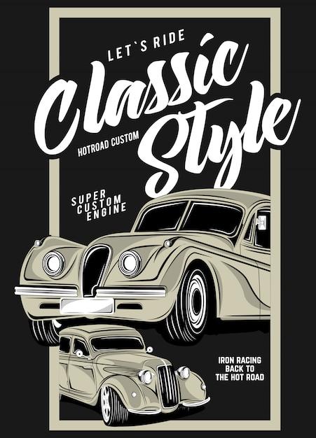 Klassischer stil, super klassische autoillustration Premium Vektoren