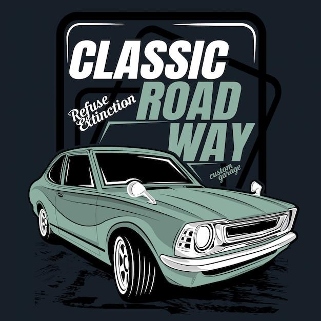 Klassischer straßenweg, illustration eines klassischen autos Premium Vektoren
