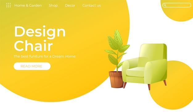 Klassischer stuhl für ihr zuhause interior design banner Kostenlosen Vektoren