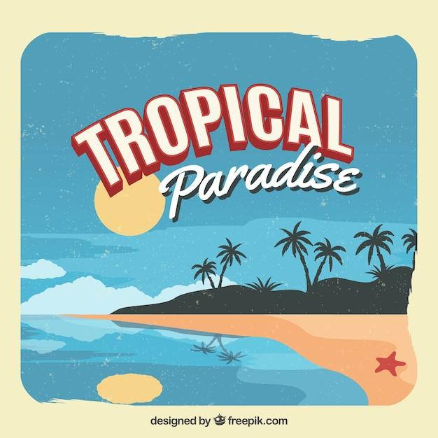 Klassischer tropischer hintergrund mit weinleseart Kostenlosen Vektoren