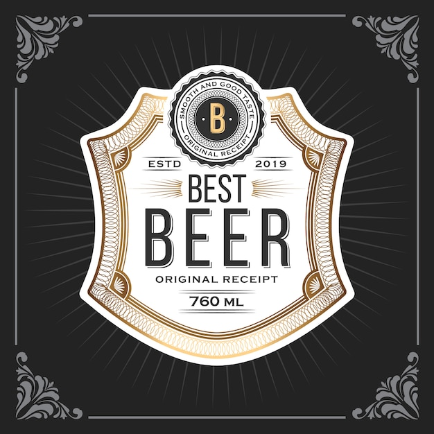 Klassischer weinleserahmen für bier beschriftet fahne Premium Vektoren