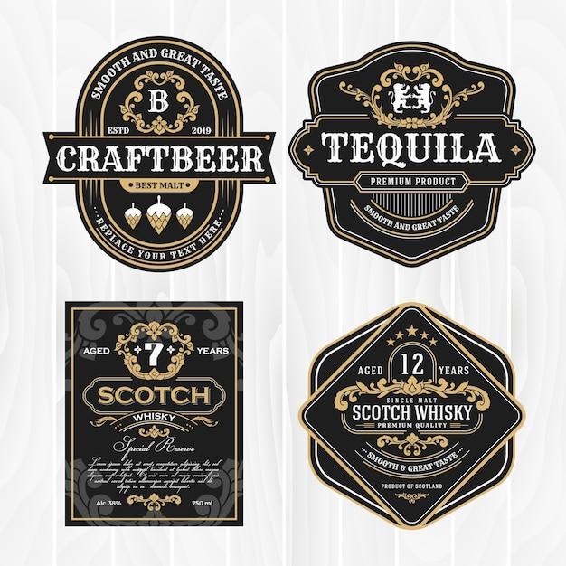 Klassischer weinleserahmen für whiskyaufkleber und antikes produkt Premium Vektoren
