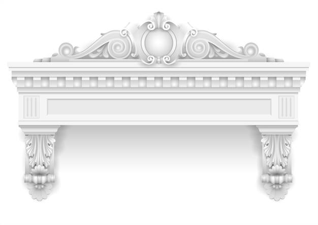 Klassischer weißer architekturfenster- und fassadendekor Premium Vektoren