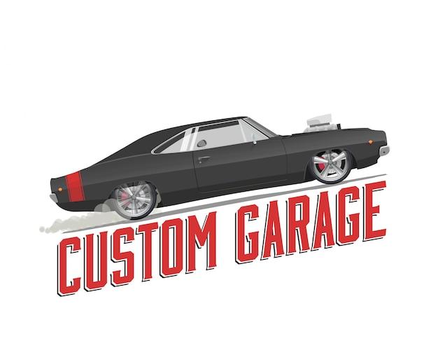 Klassisches amerikanisches muskelauto lokalisiert mit kundenspezifischem garagentitel auf weiß Premium Vektoren