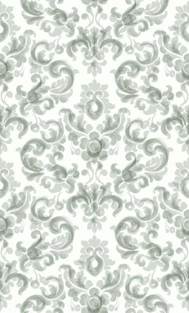 Klassisches elegantes verzierungsmusteraquarell. grüne zarte farbtexturen Premium Vektoren