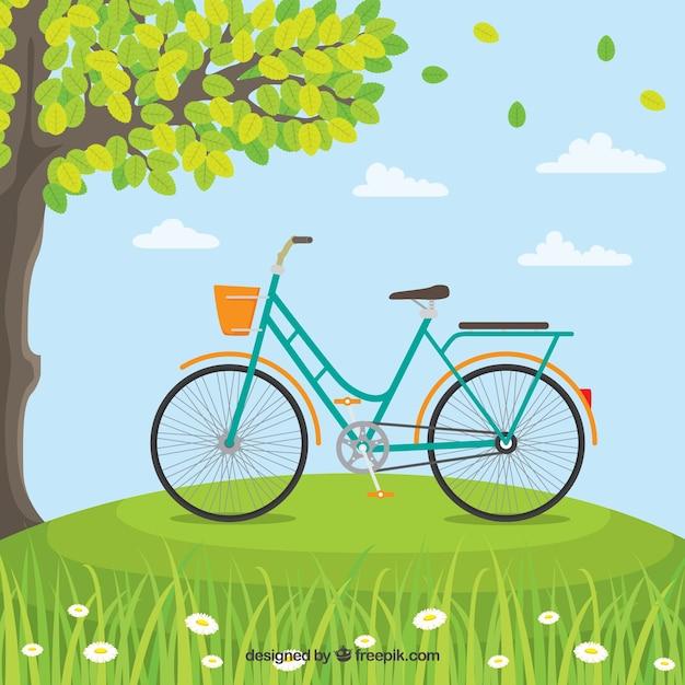 Klassisches Fahrrad in der Natur Kostenlose Vektoren