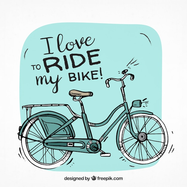 Klassisches fahrrad mit handgezeichneten stil Kostenlosen Vektoren