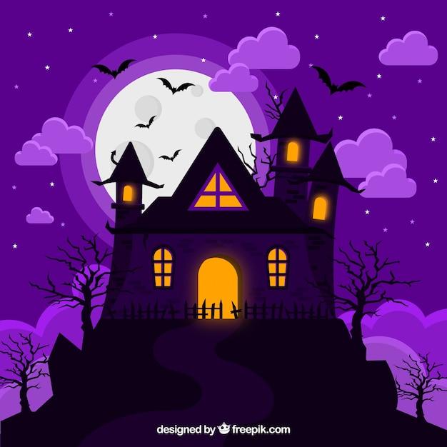 Klassisches halloween gruseliges haus Kostenlosen Vektoren