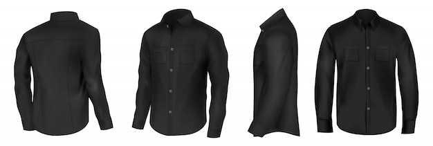Klassisches hemd aus schwarzer seide mit langen ärmeln und brusttaschen in halber drehung vorne, seitlich und hinten Kostenlosen Vektoren