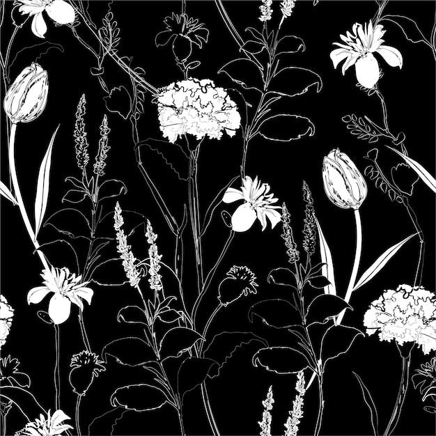 Klassisches nahtloses schwarzweiss-muster der handzeichnungsskizzen-gartennelke Premium Vektoren