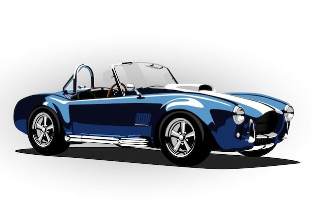 Klassisches sportwagenkobra-roadsterblau Premium Vektoren