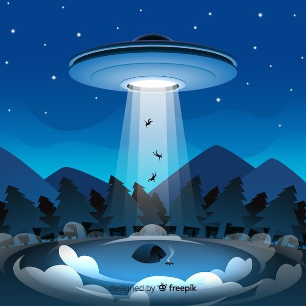 Klassisches ufo abduktionskonzept mit flachem design Kostenlosen Vektoren