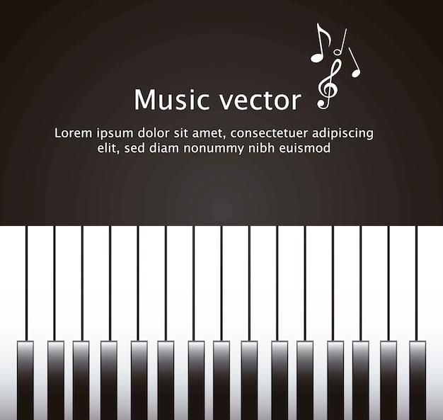 Klavier mit platz für kopie über schwarzem hintergrundvektor Premium Vektoren