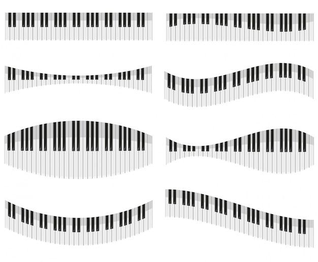 Klaviertasten für verschiedene formen der auslegungvektorabbildung Premium Vektoren