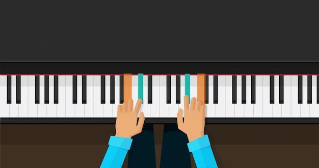 Klaviertasten mit den personenhänden, die spielakkorde lernen Premium Vektoren