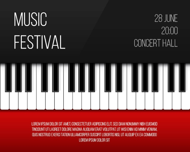 Klaviertasten poster Premium Vektoren