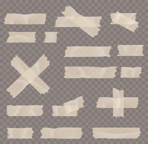Klebe- oder abdeckbandsatz isoliert auf transparentem hintergrund. klebende, klebrige, maskierende klebebandstreifen für text sind quadratisch. Premium Vektoren
