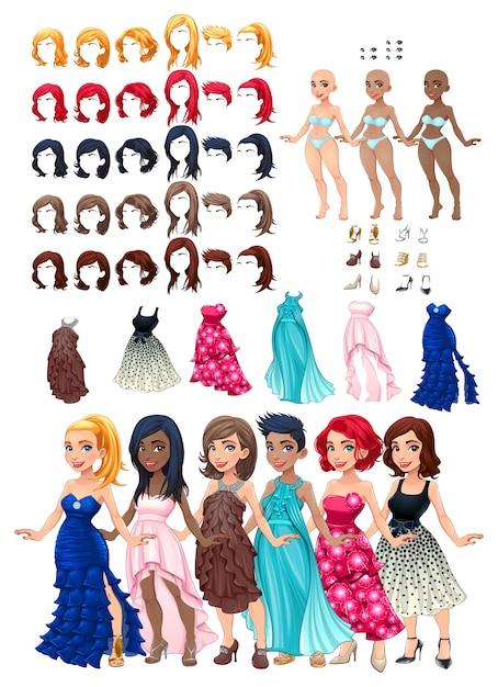 Kleider und frisuren spiel vektor-illustration isoliert objekte 6 frisuren mit 5 farben jeweils 6 verschiedene kleider 5 augen farben 6 schuhe 3 haut farben Premium Vektoren