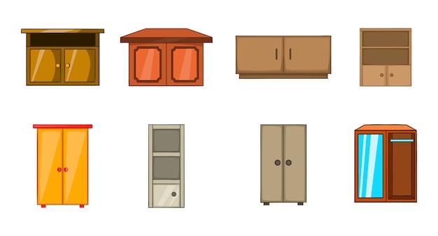 Kleiderschrank-elementsatz. karikatursatz garderobenvektorelemente Premium Vektoren