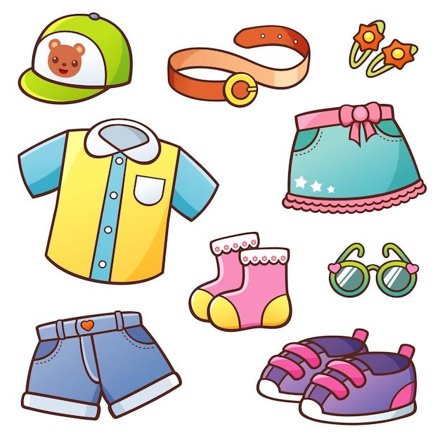 Kleidung eingestellt Premium Vektoren