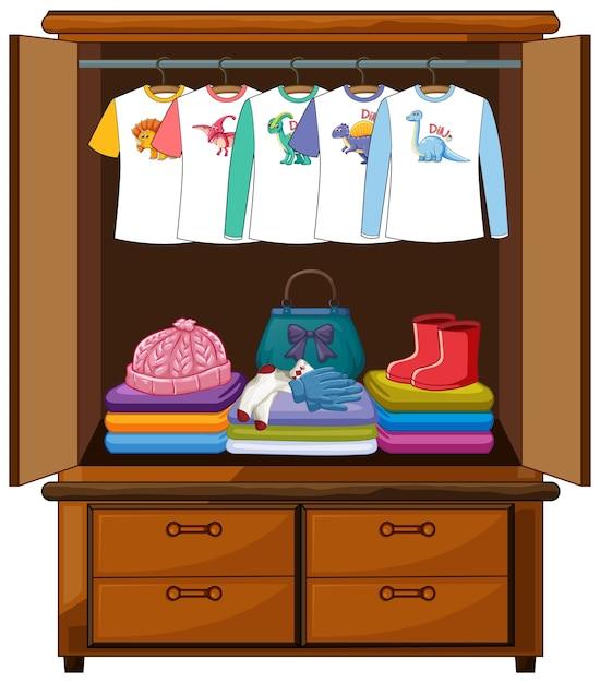 Kleidung im kleiderschrank isoliert Kostenlosen Vektoren