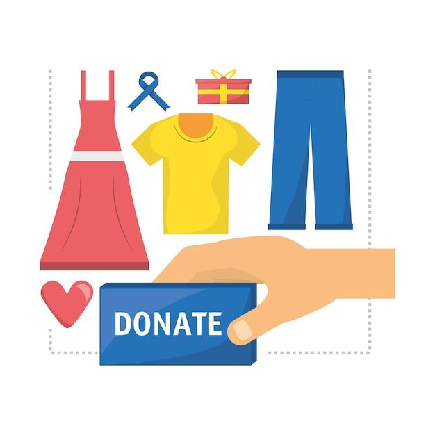 Kleidung spende unterstützung für die nächstenliebe der menschen Premium Vektoren