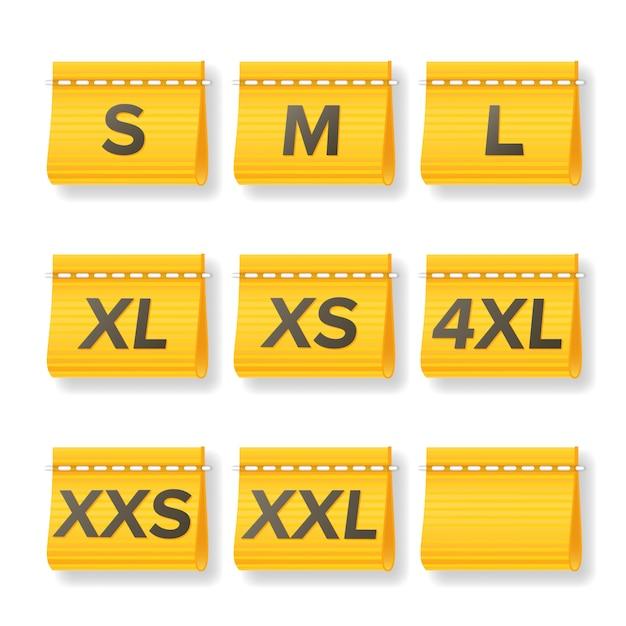 Kleidungsgröße labels set Premium Vektoren