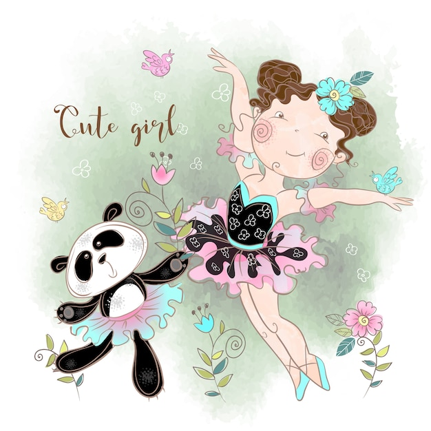 Kleine ballerina tanzt mit panda ballerina Premium Vektoren