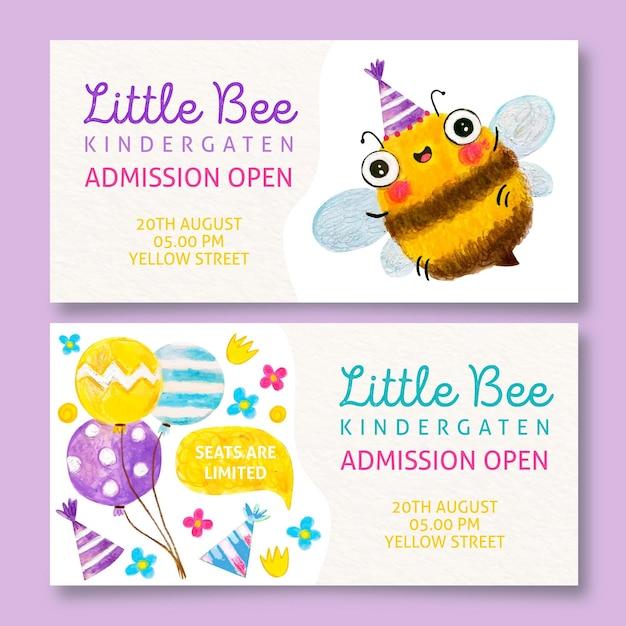 Kleine bienenkindergartenbanner Kostenlosen Vektoren